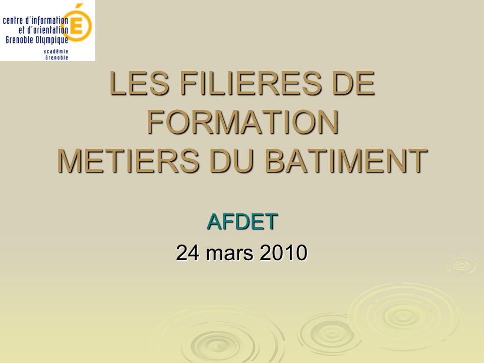 LES FILIERES DE FORMATION METIERS DU BATIMENT AFDET 24 mars 2010