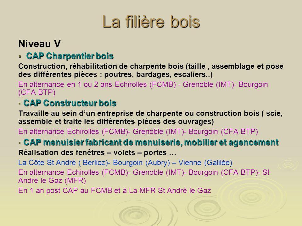 La filière bois Niveau V CAP Charpentier bois CAP Charpentier bois Construction, réhabilitation de charpente bois (taille, assemblage et pose des diff