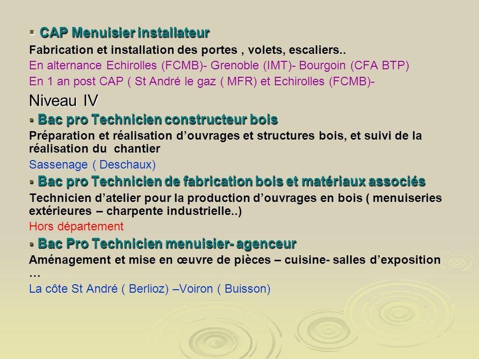 CAP Menuisier installateur CAP Menuisier installateur Fabrication et installation des portes, volets, escaliers.. En alternance Echirolles (FCMB)- Gre