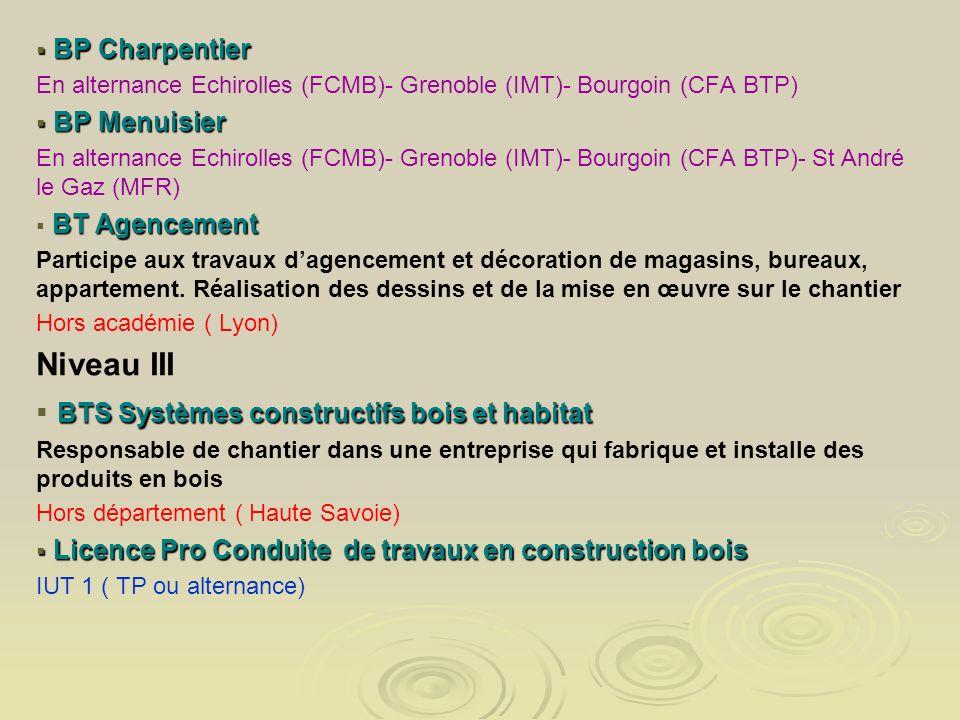 BP Charpentier BP Charpentier En alternance Echirolles (FCMB)- Grenoble (IMT)- Bourgoin (CFA BTP) BP Menuisier BP Menuisier En alternance Echirolles (
