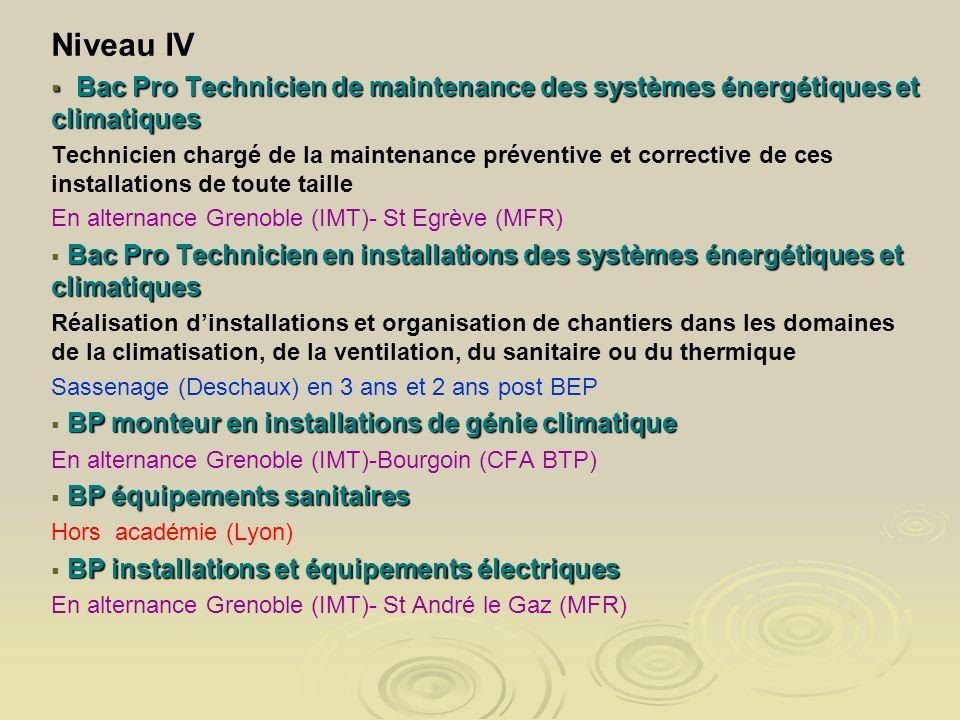 Niveau IV Bac Pro Technicien de maintenance des systèmes énergétiques et climatiques Bac Pro Technicien de maintenance des systèmes énergétiques et cl