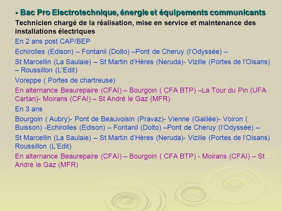 Bac Pro Electrotechnique, énergie et équipements communicants Bac Pro Electrotechnique, énergie et équipements communicants Technicien chargé de la ré