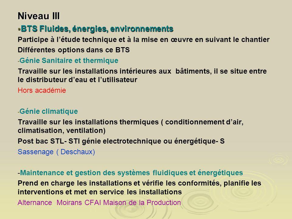 Niveau III BTS Fluides, énergies, environnements BTS Fluides, énergies, environnements Participe à létude technique et à la mise en œuvre en suivant l