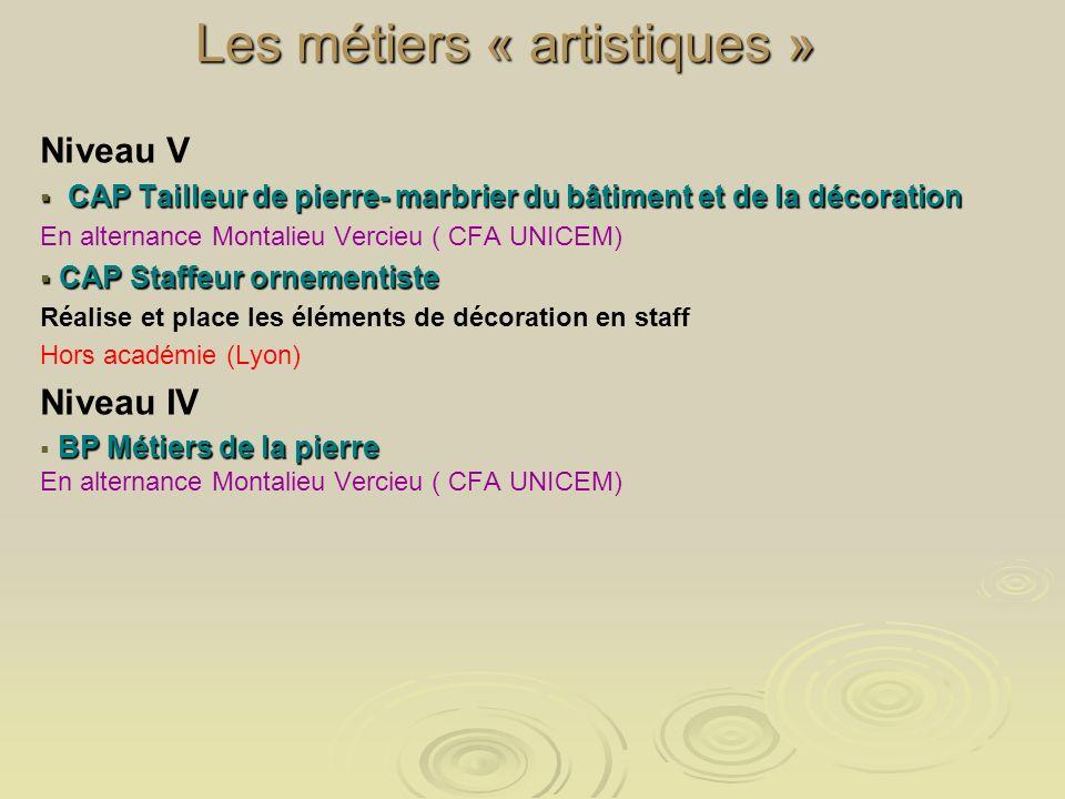 Les métiers « artistiques » Niveau V CAP Tailleur de pierre- marbrier du bâtiment et de la décoration CAP Tailleur de pierre- marbrier du bâtiment et