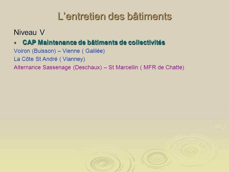 Lentretien des bâtiments Niveau V CAP Maintenance de bâtiments de collectivités CAP Maintenance de bâtiments de collectivités Voiron (Buisson) – Vienn