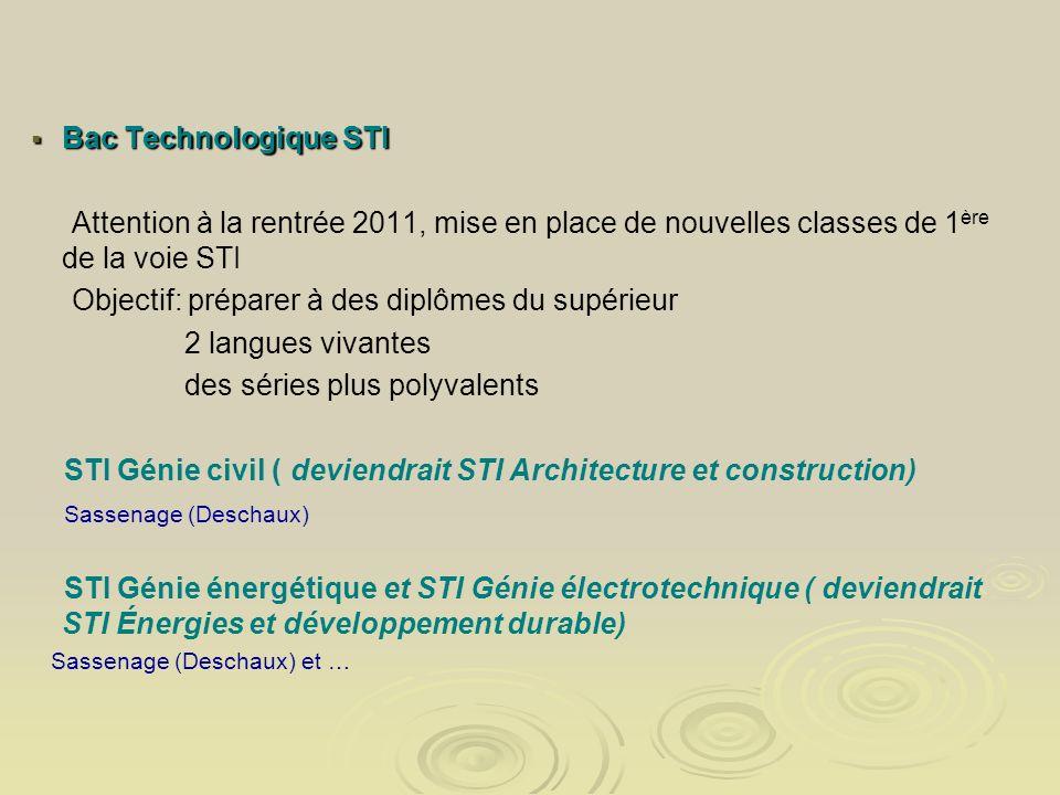 Bac Technologique STI Bac Technologique STI Attention à la rentrée 2011, mise en place de nouvelles classes de 1 ère de la voie STI Objectif: préparer