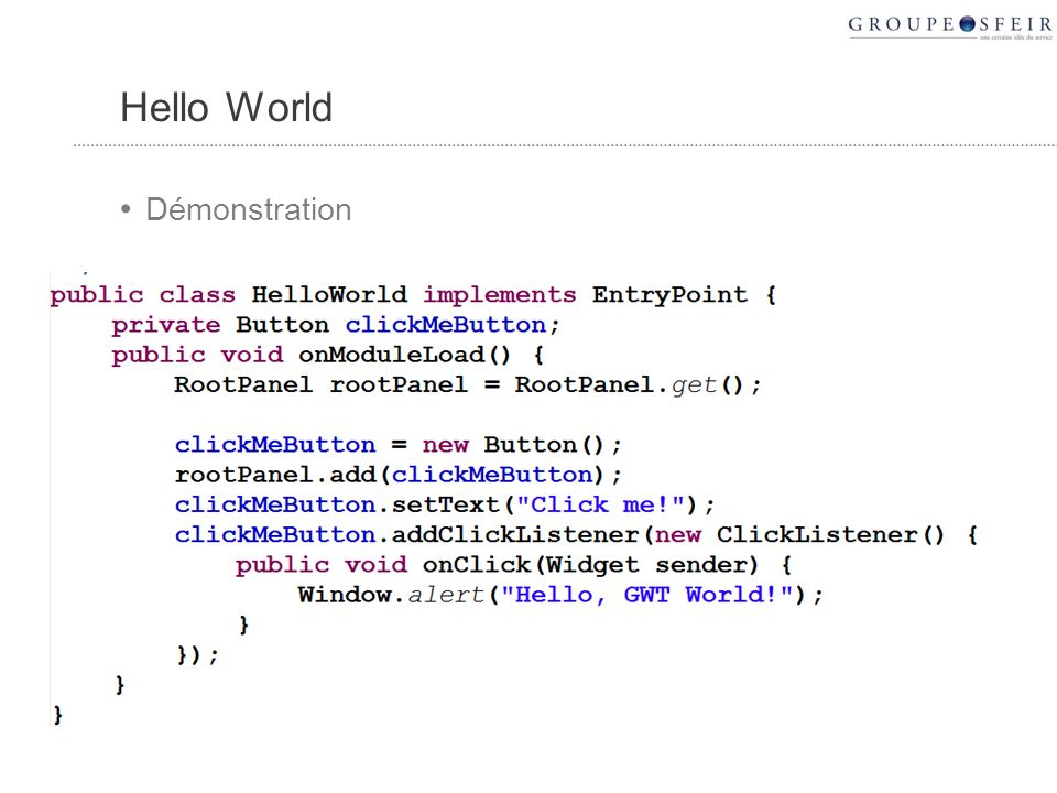 Hello World Démonstration