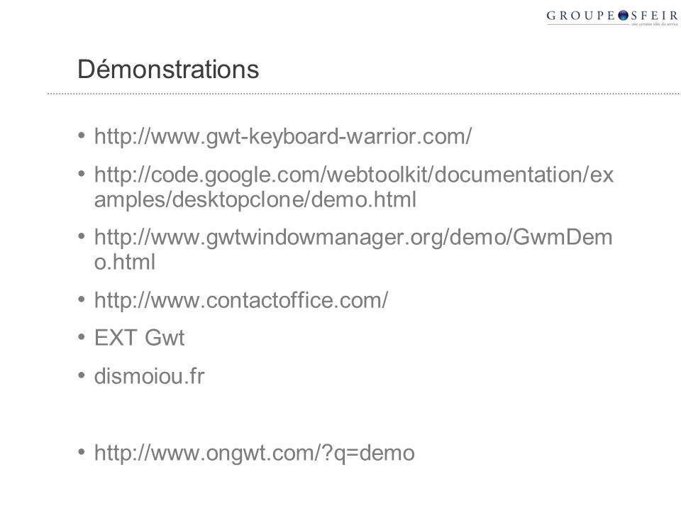 http://www.gwt-keyboard-warrior.com/ http://code.google.com/webtoolkit/documentation/ex amples/desktopclone/demo.html http://www.gwtwindowmanager.org/demo/GwmDem o.html http://www.contactoffice.com/ EXT Gwt dismoiou.fr http://www.ongwt.com/?q=demo