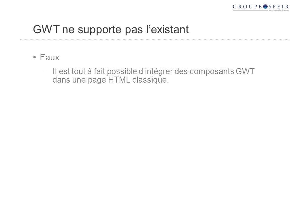 GWT ne supporte pas lexistant Faux – Il est tout à fait possible dintégrer des composants GWT dans une page HTML classique.