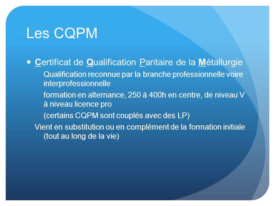 Les CQPM Certificat de Qualification Paritaire de la Métallurgie Qualification reconnue par la branche professionnelle voire interprofessionnelle form