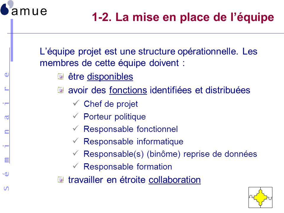 S é m i n a i r e 1-2. La mise en place de léquipe Léquipe projet est une structure opérationnelle. Les membres de cette équipe doivent : être disponi