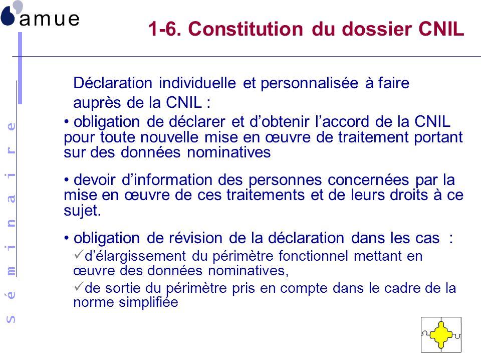 S é m i n a i r e 1-6. Constitution du dossier CNIL Déclaration individuelle et personnalisée à faire auprès de la CNIL : obligation de déclarer et do