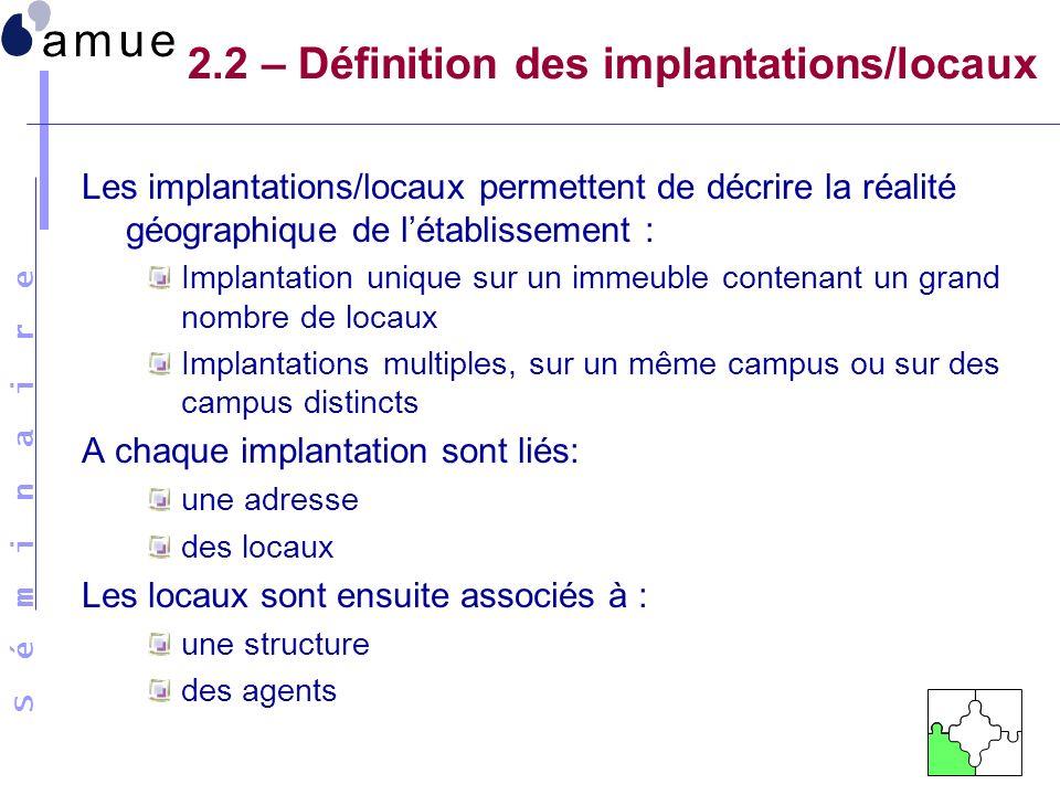 S é m i n a i r e 2.2 – Définition des implantations/locaux Les implantations/locaux permettent de décrire la réalité géographique de létablissement :