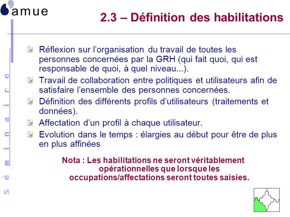 S é m i n a i r e 2.3 – Définition des habilitations Réflexion sur lorganisation du travail de toutes les personnes concernées par la GRH (qui fait qu