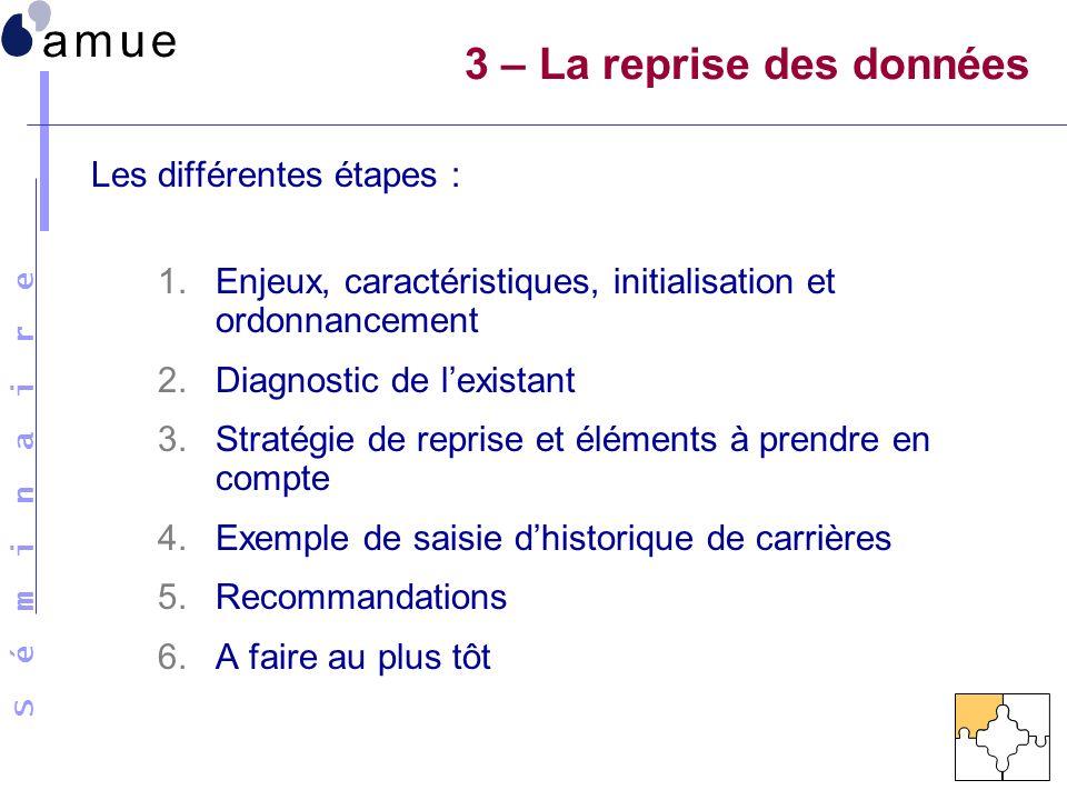 S é m i n a i r e Les différentes étapes : 1.Enjeux, caractéristiques, initialisation et ordonnancement 2.Diagnostic de lexistant 3.Stratégie de repri