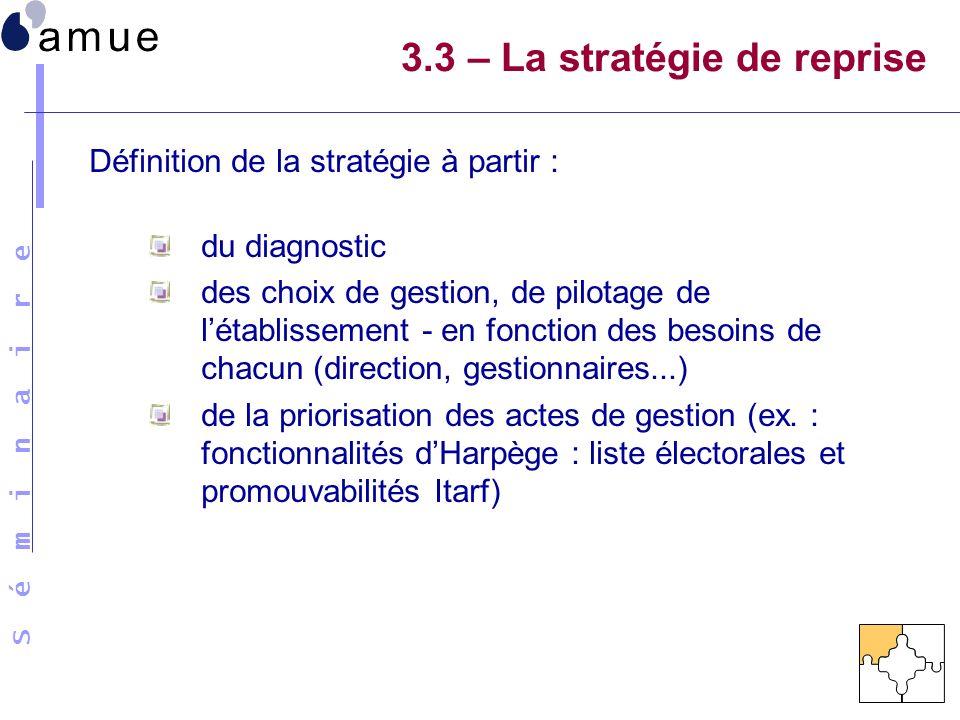 S é m i n a i r e Définition de la stratégie à partir : du diagnostic des choix de gestion, de pilotage de létablissement - en fonction des besoins de