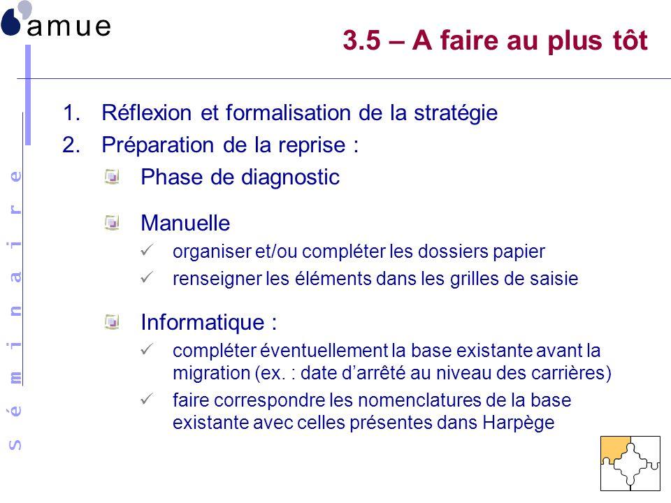 S é m i n a i r e 1.Réflexion et formalisation de la stratégie 2.Préparation de la reprise : Phase de diagnostic Manuelle organiser et/ou compléter le