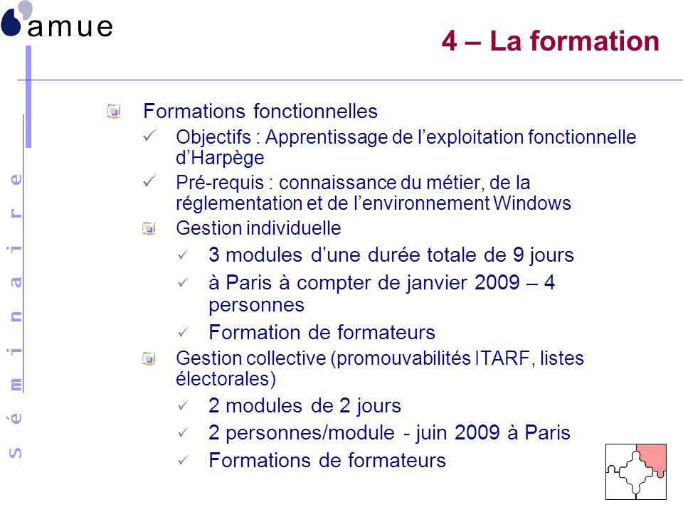 S é m i n a i r e Formations fonctionnelles Objectifs : Apprentissage de lexploitation fonctionnelle dHarpège Pré-requis : connaissance du métier, de