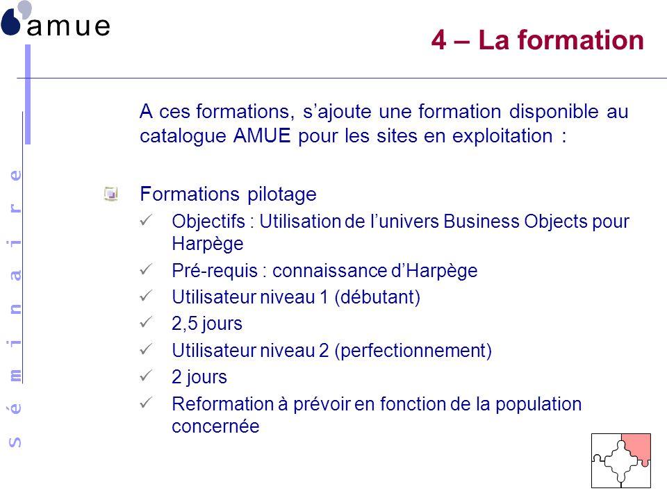 S é m i n a i r e A ces formations, sajoute une formation disponible au catalogue AMUE pour les sites en exploitation : Formations pilotage Objectifs