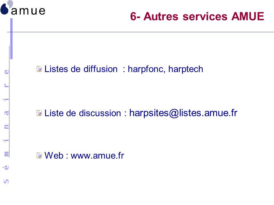 S é m i n a i r e 6- Autres services AMUE Listes de diffusion : harpfonc, harptech Liste de discussion : harpsites@listes.amue.fr Web : www.amue.fr