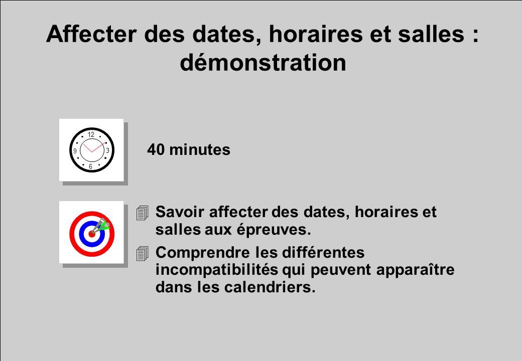 Affecter des dates, horaires et salles : démonstration 12 6 3 9 40 minutes 4Savoir affecter des dates, horaires et salles aux épreuves. 4Comprendre le