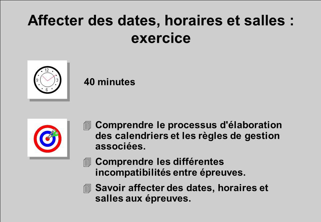 Affecter des dates, horaires et salles : exercice 12 6 3 9 40 minutes 4Comprendre le processus d'élaboration des calendriers et les règles de gestion