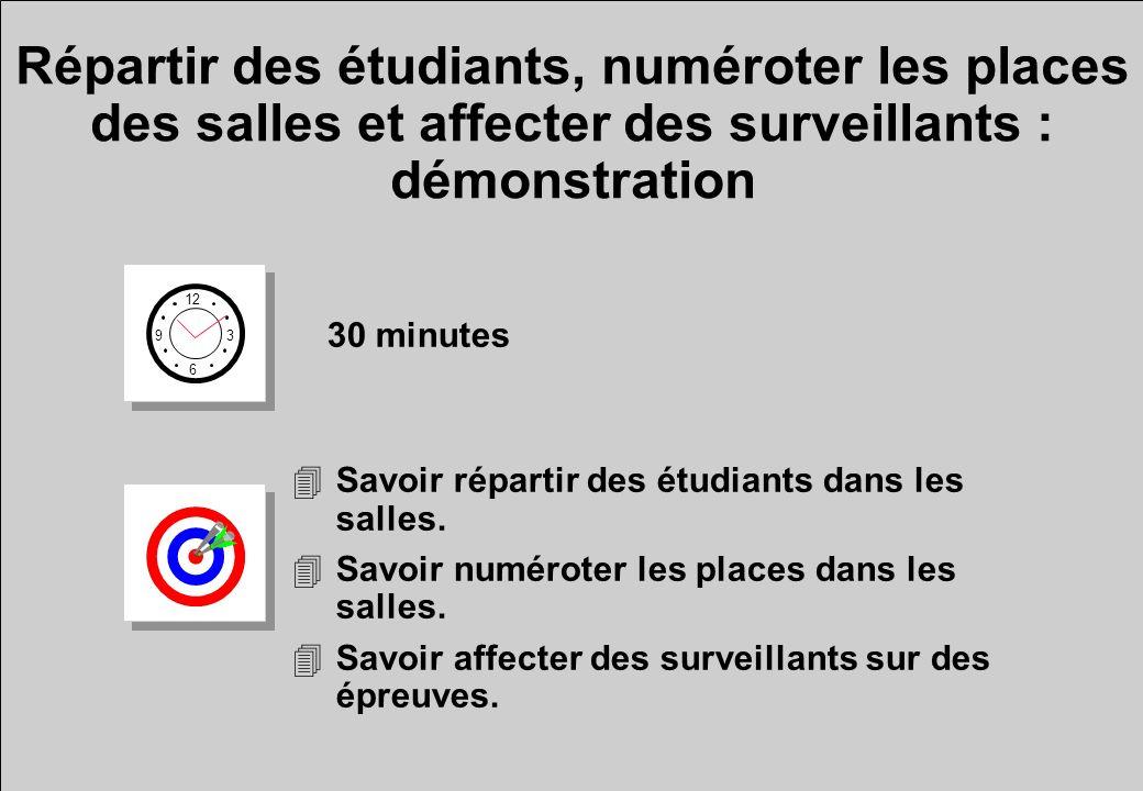 Répartir des étudiants, numéroter les places des salles et affecter des surveillants : démonstration 12 6 3 9 30 minutes 4Savoir répartir des étudiant