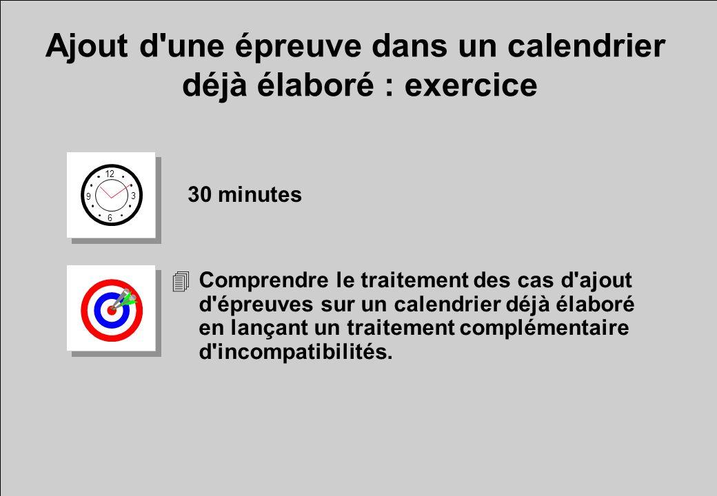 Ajout d'une épreuve dans un calendrier déjà élaboré : exercice 12 6 3 9 30 minutes 4Comprendre le traitement des cas d'ajout d'épreuves sur un calendr