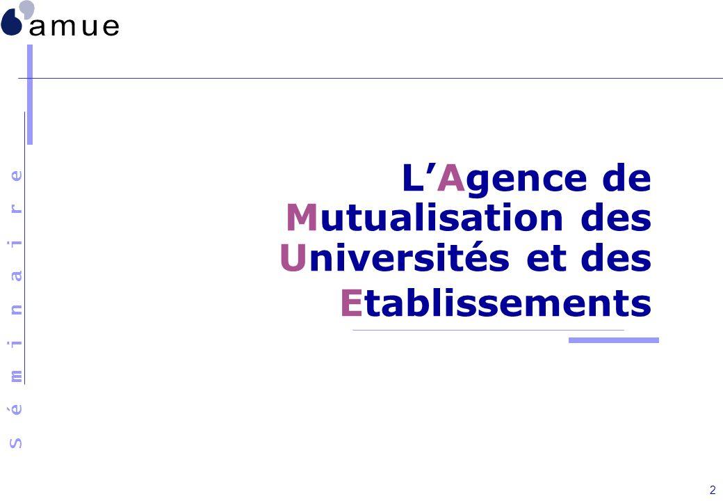 S é m i n a i r e 2 LAgence de Mutualisation des Universités et des Etablissements