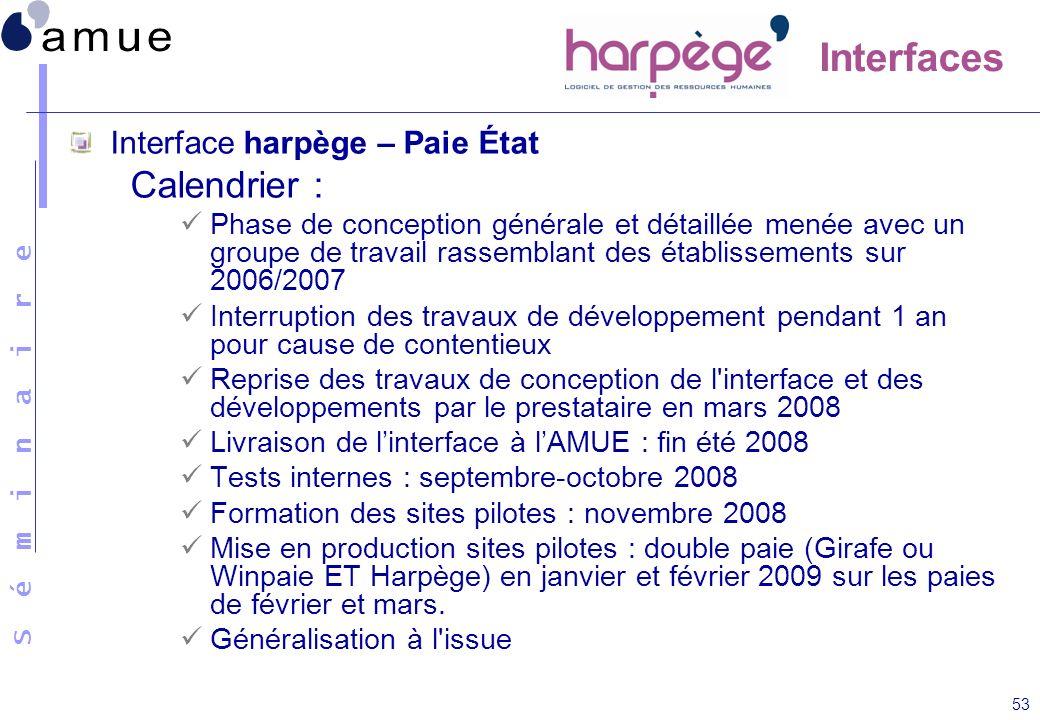 S é m i n a i r e 53 Interfaces Interface harpège – Paie État Calendrier : Phase de conception générale et détaillée menée avec un groupe de travail r