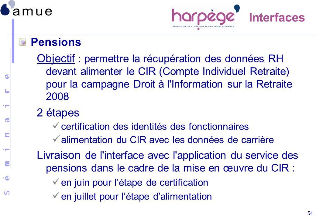S é m i n a i r e 54 Pensions Objectif : permettre la récupération des données RH devant alimenter le CIR (Compte Individuel Retraite) pour la campagn