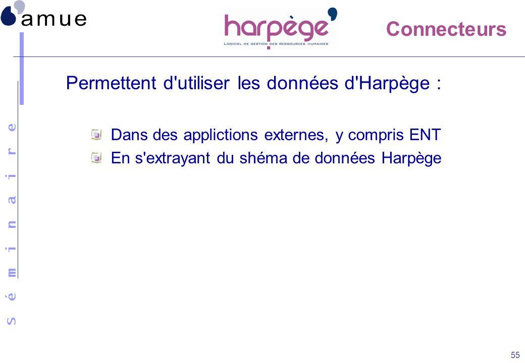 S é m i n a i r e 55 Permettent d'utiliser les données d'Harpège : Dans des applictions externes, y compris ENT En s'extrayant du shéma de données Har