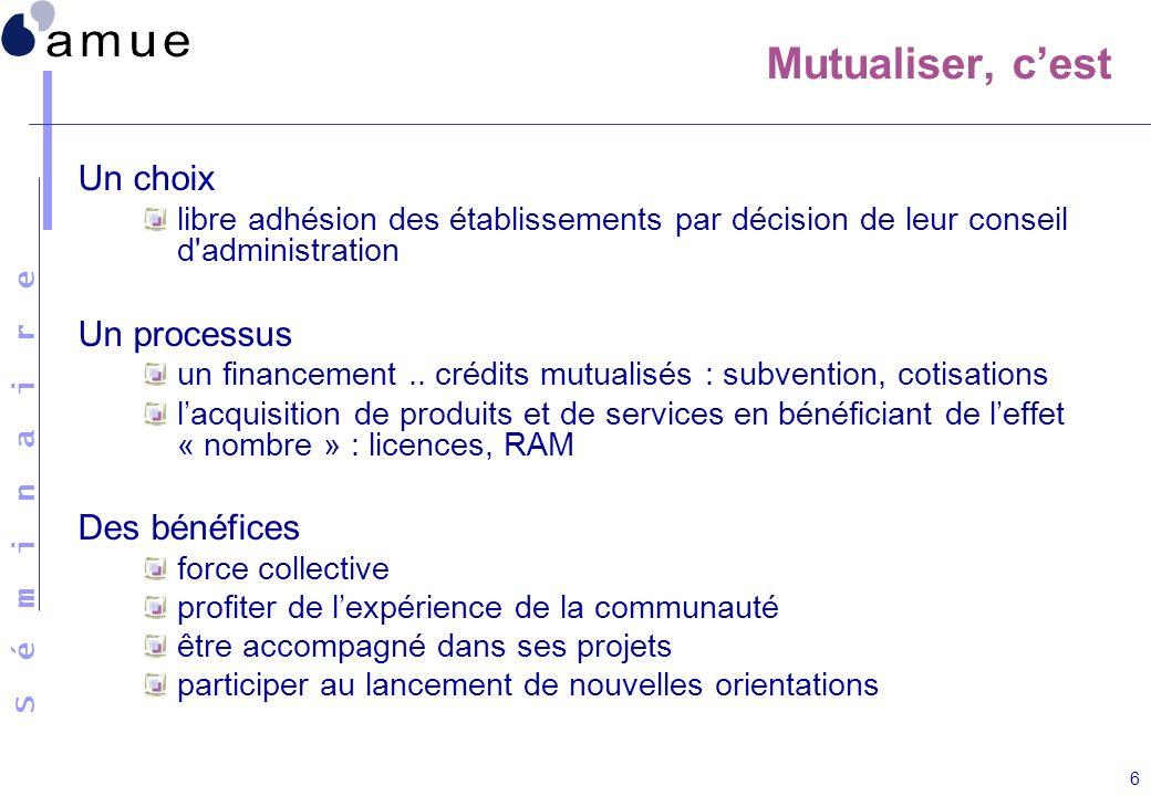 S é m i n a i r e 6 Mutualiser, cest Un choix libre adhésion des établissements par décision de leur conseil d'administration Un processus un financem