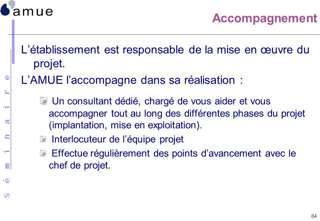 S é m i n a i r e 64 Accompagnement Létablissement est responsable de la mise en œuvre du projet. LAMUE laccompagne dans sa réalisation : Un consultan