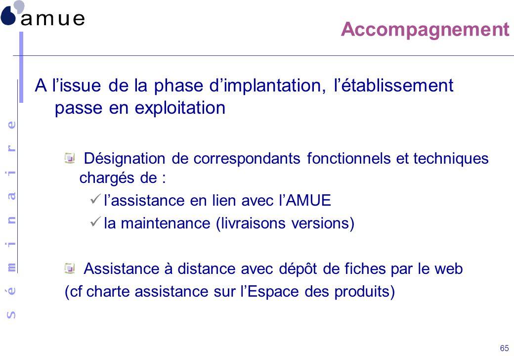 S é m i n a i r e 65 A lissue de la phase dimplantation, létablissement passe en exploitation Désignation de correspondants fonctionnels et techniques