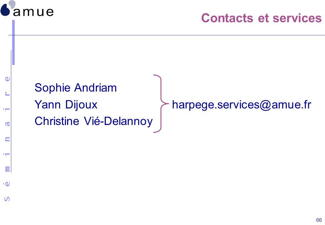 S é m i n a i r e 66 Contacts et services Sophie Andriam Yann Dijoux harpege.services@amue.fr Christine Vié-Delannoy