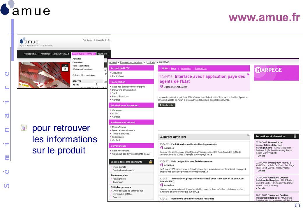 S é m i n a i r e 68 www.amue.fr pour retrouver les informations sur le produit