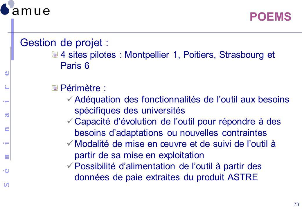 S é m i n a i r e 73 POEMS Gestion de projet : 4 sites pilotes : Montpellier 1, Poitiers, Strasbourg et Paris 6 Périmètre : Adéquation des fonctionnal