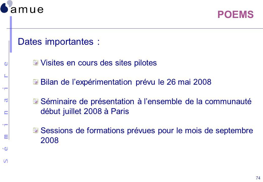S é m i n a i r e 74 POEMS Dates importantes : Visites en cours des sites pilotes Bilan de lexpérimentation prévu le 26 mai 2008 Séminaire de présenta