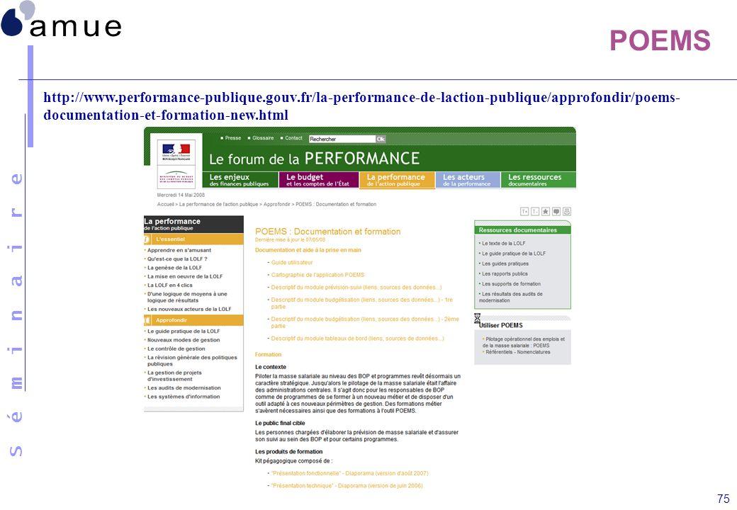 S é m i n a i r e 75 POEMS http://www.performance-publique.gouv.fr/la-performance-de-laction-publique/approfondir/poems- documentation-et-formation-ne