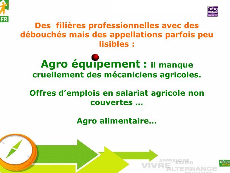 Des filières professionnelles avec des débouchés mais des appellations parfois peu lisibles : Agro équipement : il manque cruellement des mécaniciens