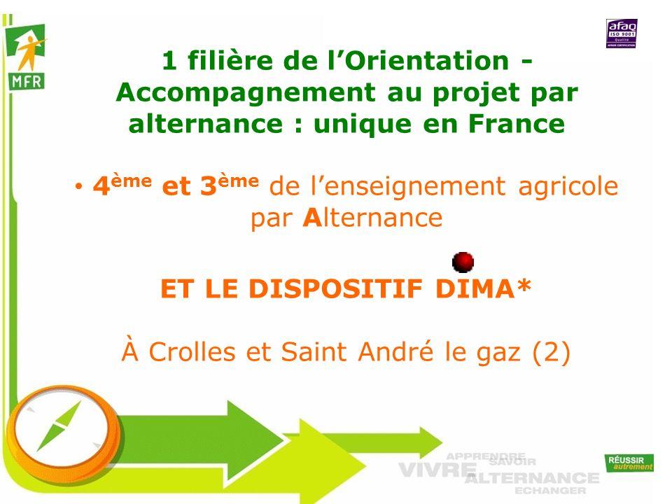 1 filière de lOrientation - Accompagnement au projet par alternance : unique en France 4 ème et 3 ème de lenseignement agricole par Alternance ET LE D