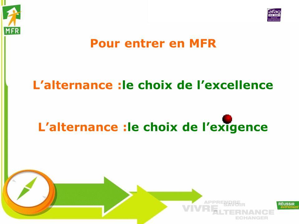 Pour entrer en MFR Lalternance :le choix de lexcellence Lalternance :le choix de lexigence
