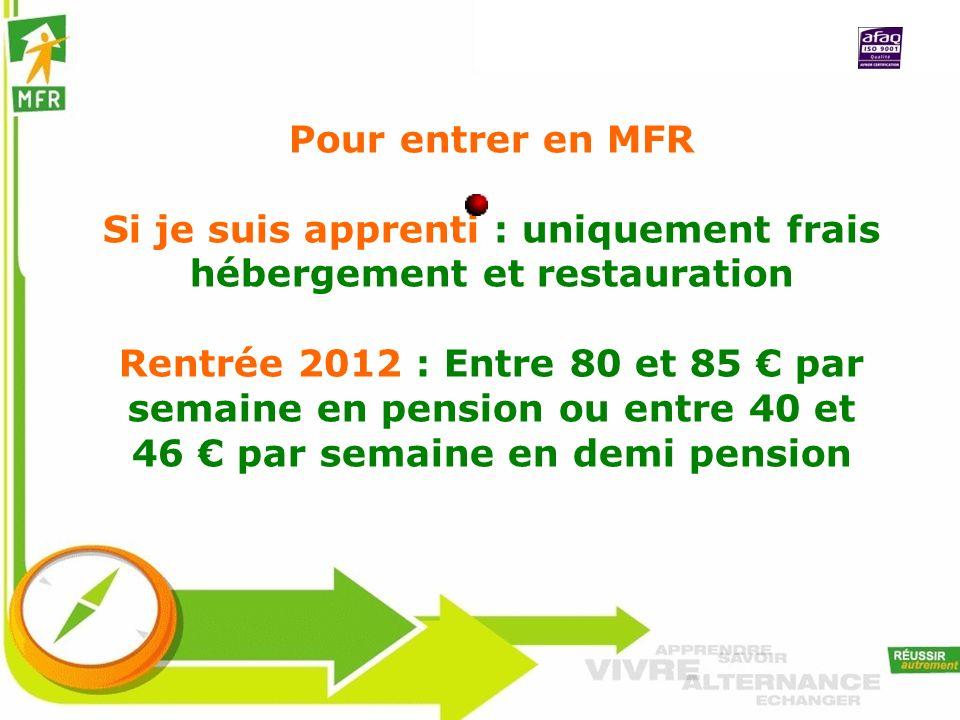 Pour entrer en MFR Si je suis apprenti : uniquement frais hébergement et restauration Rentrée 2012 : Entre 80 et 85 par semaine en pension ou entre 40