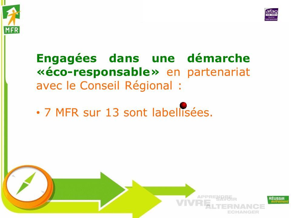 Engagées dans une démarche «éco-responsable» en partenariat avec le Conseil Régional : 7 MFR sur 13 sont labellisées.