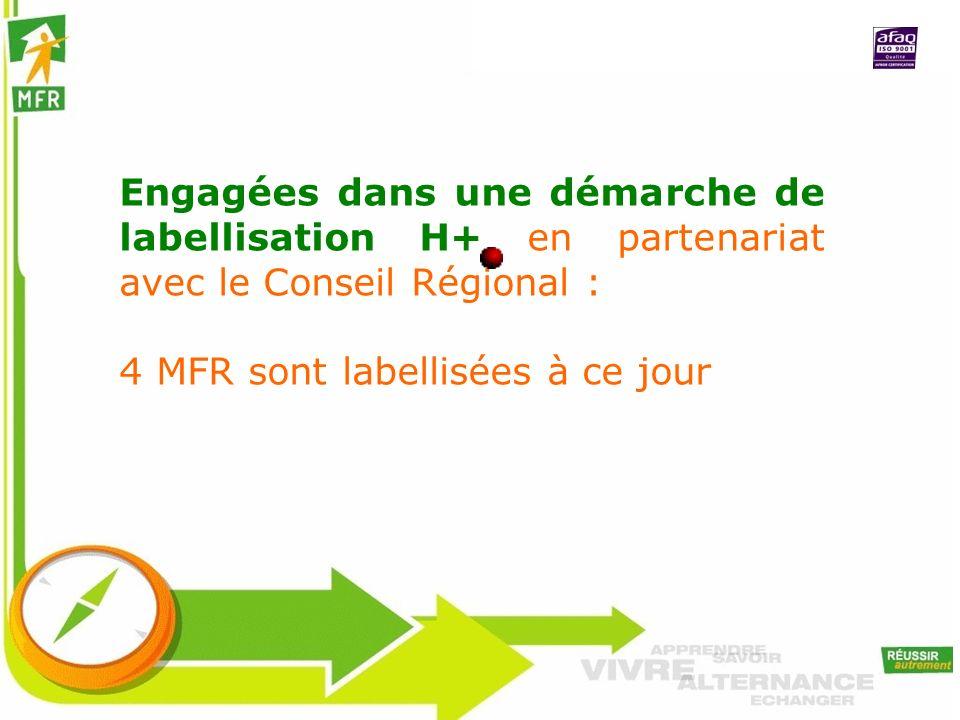 Engagées dans une démarche de labellisation H+ en partenariat avec le Conseil Régional : 4 MFR sont labellisées à ce jour