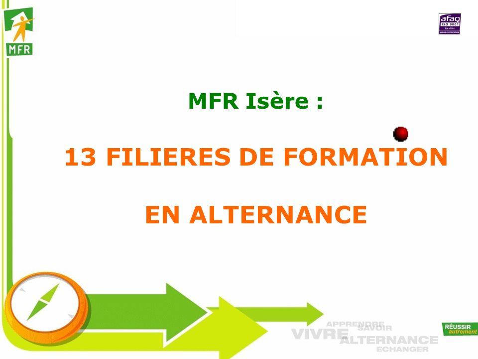 MFR Isère : 13 FILIERES DE FORMATION EN ALTERNANCE