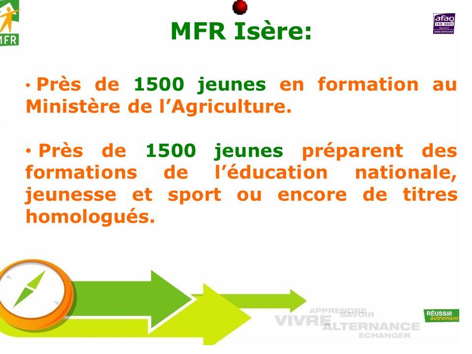 MFR Isère: Près de 1500 jeunes en formation au Ministère de lAgriculture. Près de 1500 jeunes préparent des formations de léducation nationale, jeunes