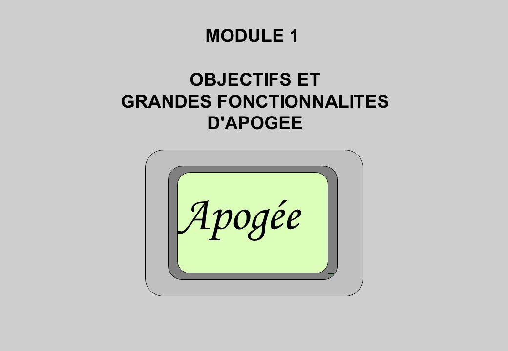 MODULE 1 OBJECTIFS ET GRANDES FONCTIONNALITES D APOGEE Apogée