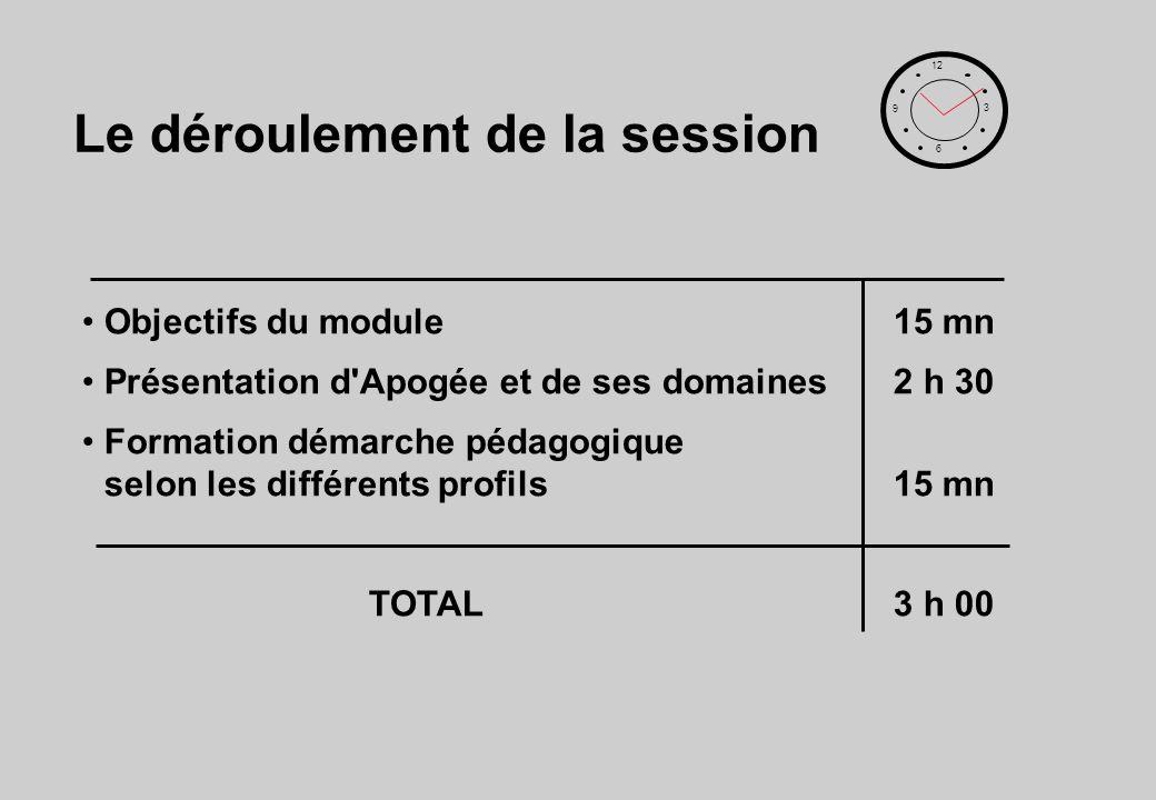 Le déroulement de la session Objectifs du module15 mn Présentation d Apogée et de ses domaines2 h 30 Formation démarche pédagogique selon les différents profils15 mn TOTAL3 h 00 12 6 3 9